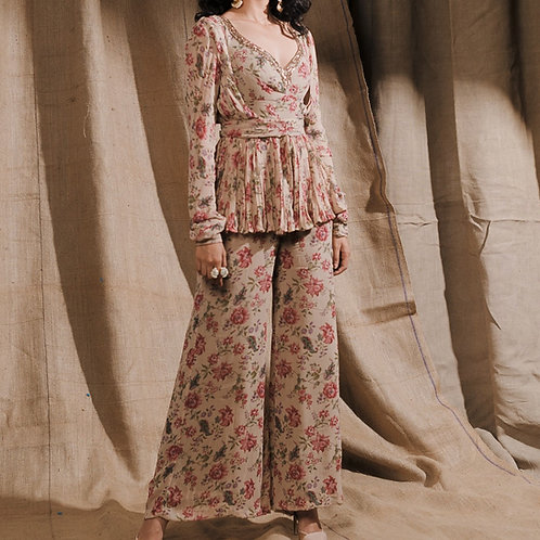 Floral Printed Kurti With Straight Pant