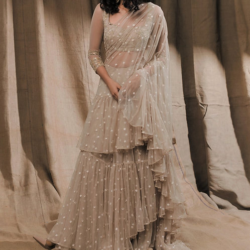 Beige Embellished Saree