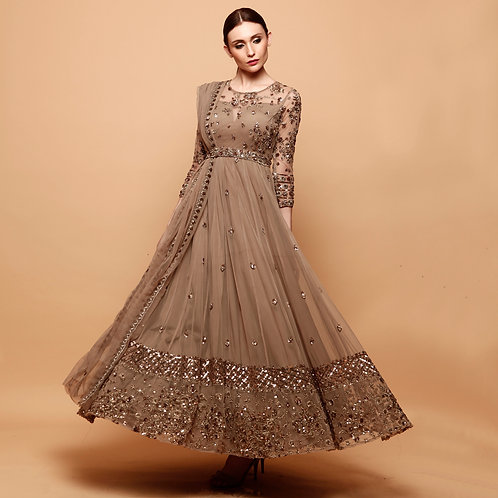 Grey Brown Anarkali