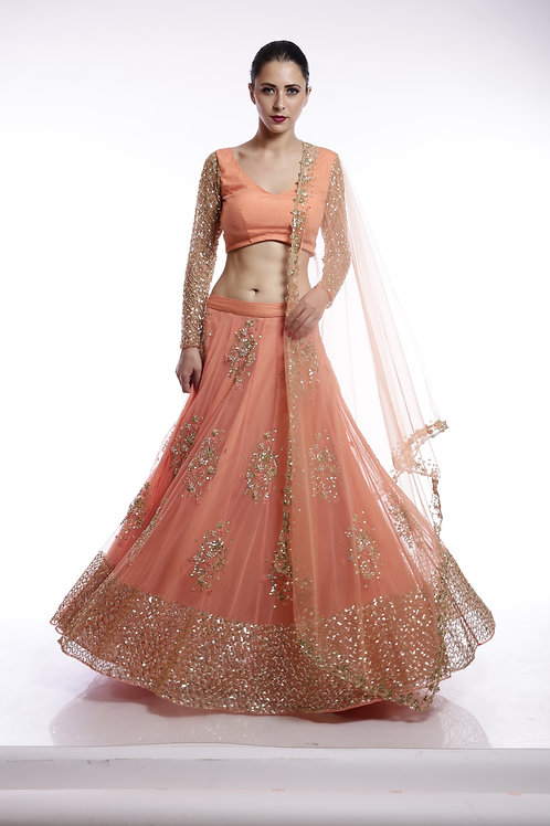 Coral and gold floral sequins embroidered lehenga