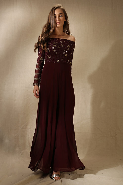 Dark Wine Floral Embroidered Jumpsuit