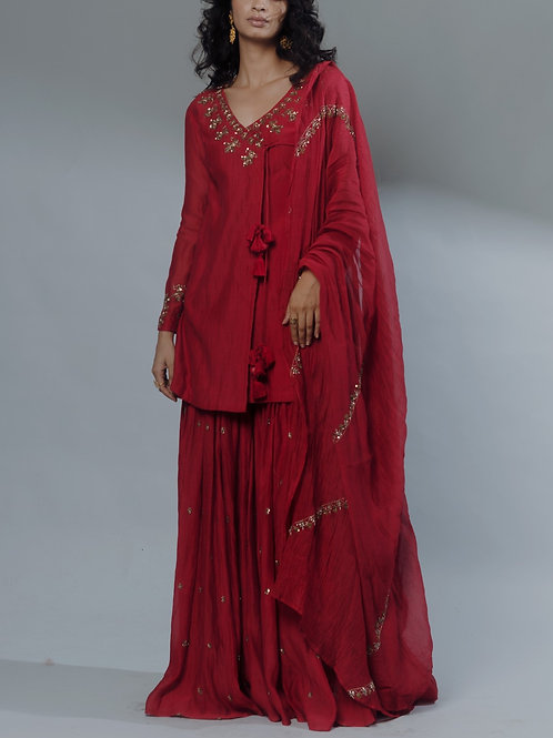 Red Embroidered Angrakha Set with dupatta