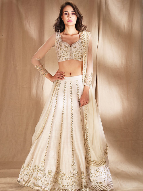 White and gold zari sequin Lehenga