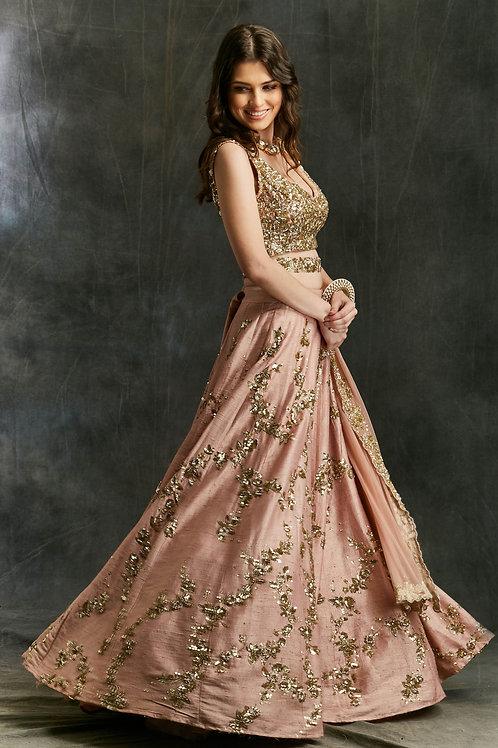 Pink Sequin Jaal Lehenga