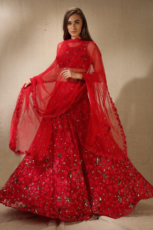 Carmine Pink Threadwork and Sequins Floral Work Lehenga