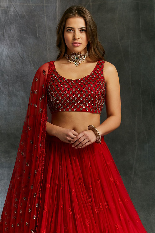 copy of Red Threadwork Lehenga with embellished Choli