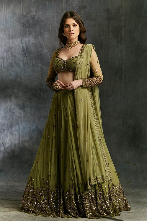Olive Green Lehenga with Dupatta and Belt