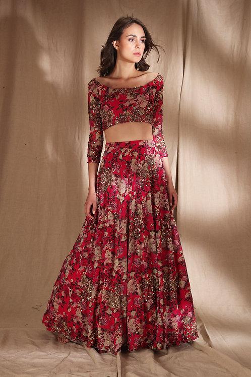 Red Floral Print Georgette