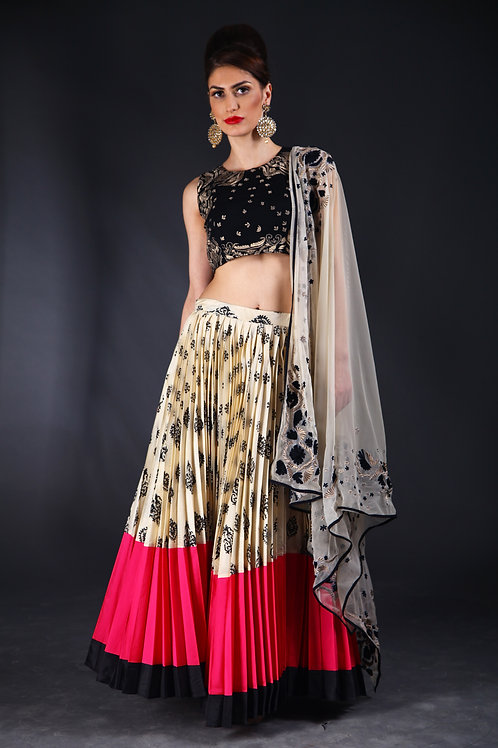 Black and cream block printed sequins embellished Lehenga
