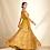 Thumbnail: Mustard Floral Off Shoulder Organza Kurta With Skirt