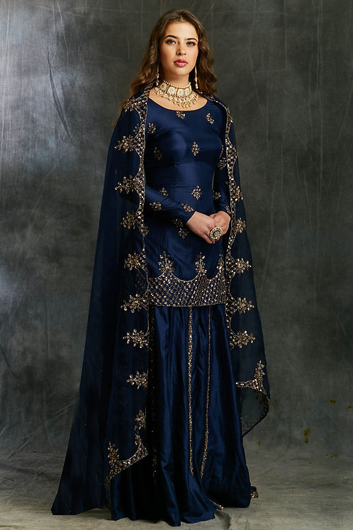 Blue Silk Sharara with Organza Dupatta