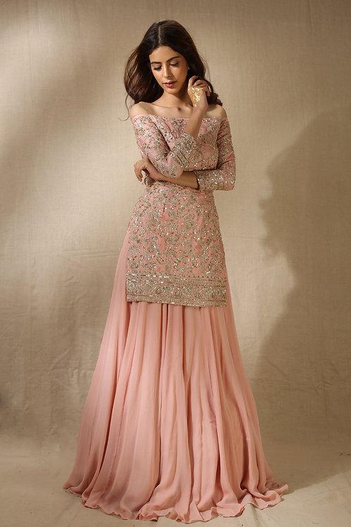 Pink Sequins Handwork Kurta with Flared Pants
