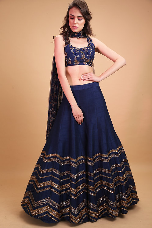 Dark Blue Geometrical Zari Lehenga