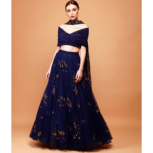 Navy Blue Lehenga with Wrap Blouse