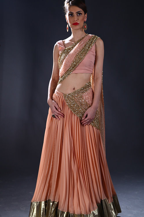 Peach and gold sequins embellished Lehenga
