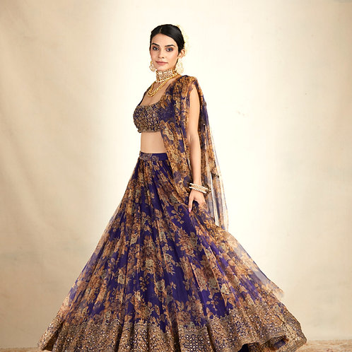 Purple Floral Printed Lehenga
