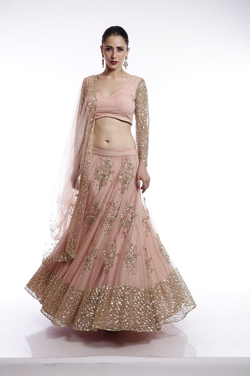 Peach and gold floral sequins embroidered Lehenga