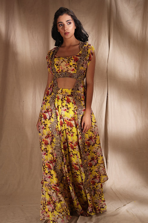 Yellow Floral With Belt