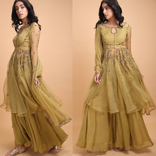Leaf green jacket with flare georgette pants