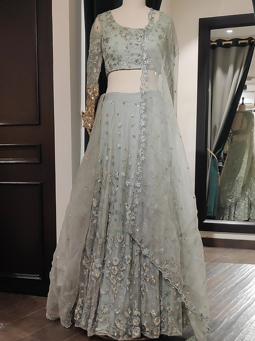 Grey Organza Threadwork Lehenga