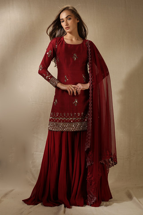 Maroon and Gold Embroidered Kurta and Gharara
