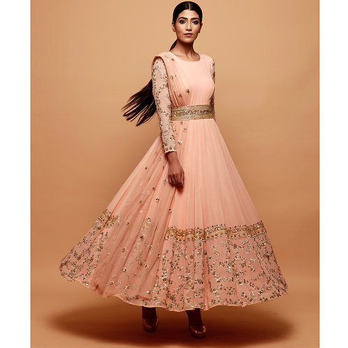 Pink Anarkali Suit With Gold Border