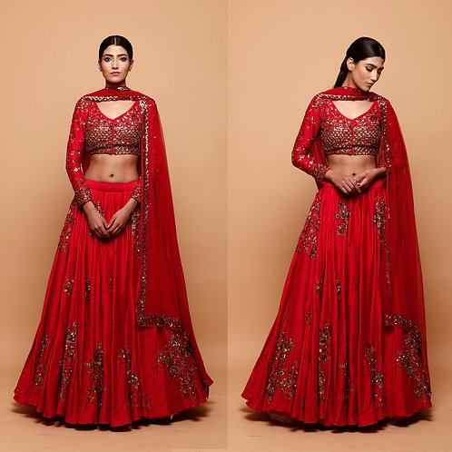 Red Lehenga with Gold Floral Work
