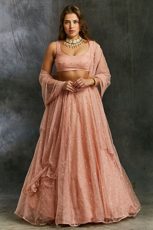 Pink and Gold Polka Dot Lehenga