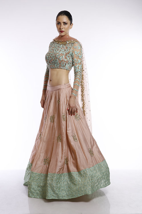 Peach moti work and sequins embroidered lehenga