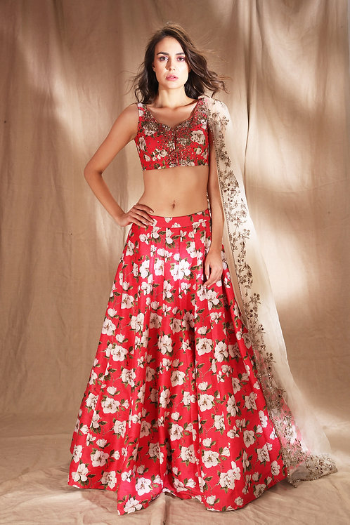 Hot Pink Floral Raw Silk Printed Lehenga