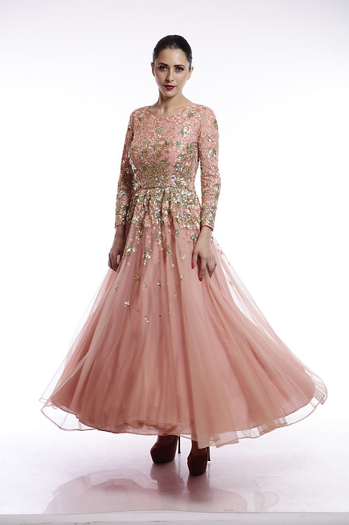 Peach and gold shimmer sequins embroidered flared gown