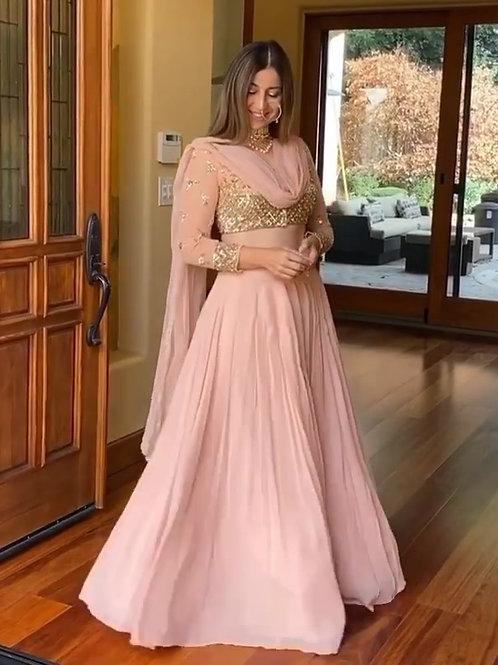 Pink Georgette Lehenga with embellished Choli