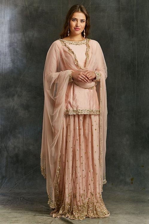 Pink Silk Kurta with Shimmer Sharara
