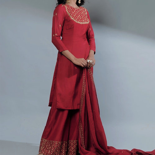 Rose Red Kurti And Sharara