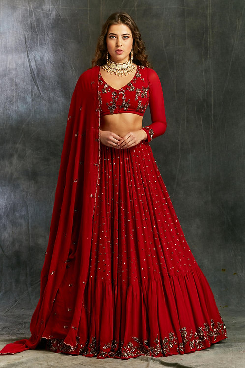 Red and Gold Georgette Booti Lehenga