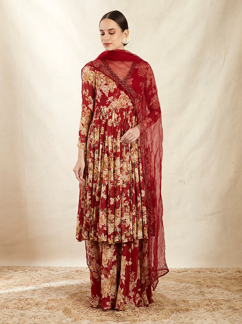 Red printed Angrakha With Red Dupatta