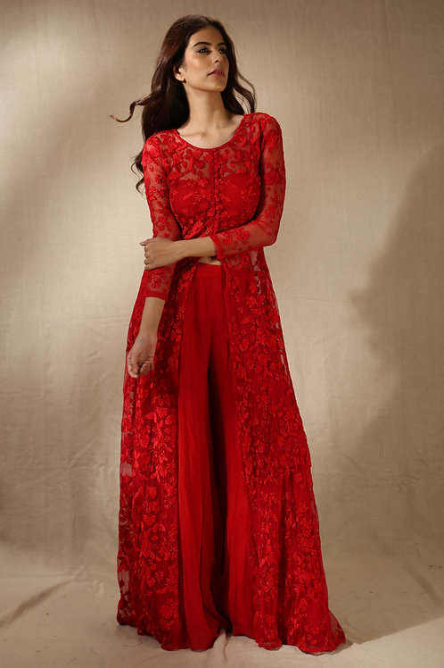 Red Thread Work Front Open Jacket Kurta with Flared Pants