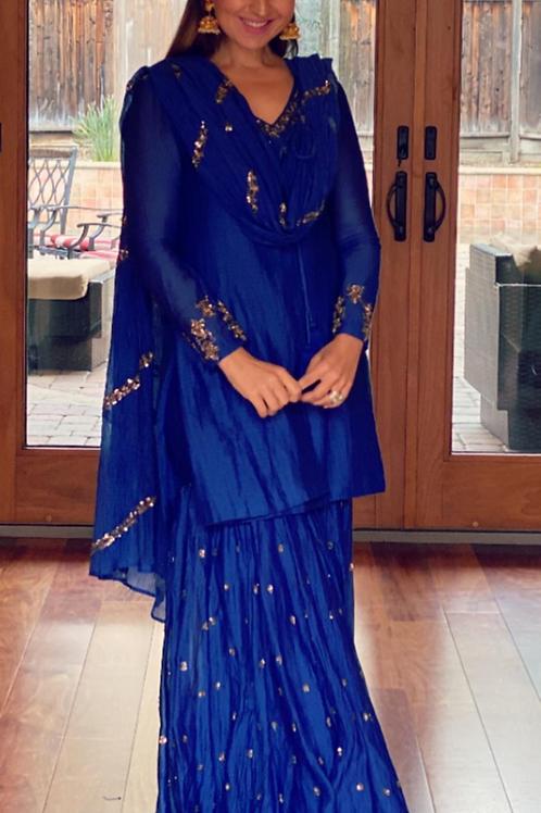 Royal Blue Kurta With Sharrara