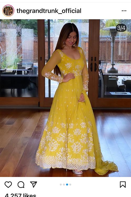Yellow And White Threadwork Anarkali