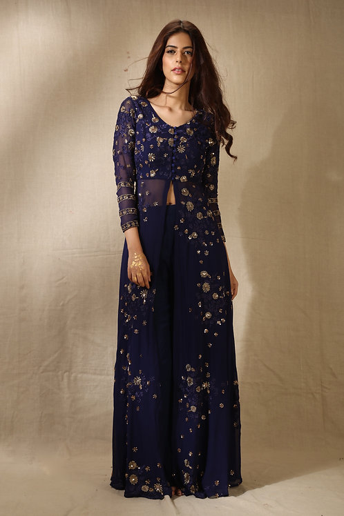 Navy Front Open Embroidered Jacket and Lehenga