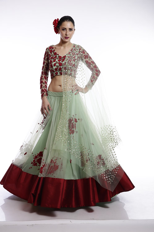 Mint green and red floral thread and sequins embroidered Lehenga