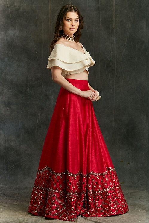 Red Border Lehenga With Off shoulder Crop Top