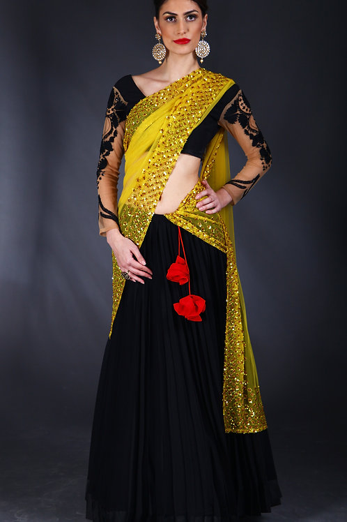 black and bright yellow embroidered Lehenga