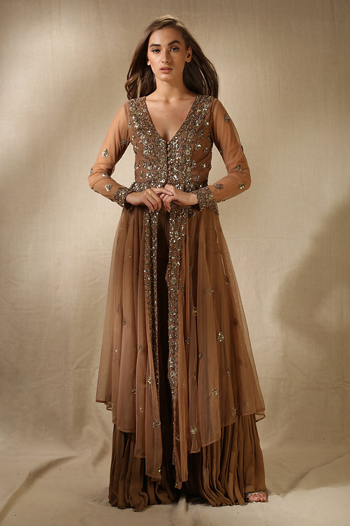 Copper and Gold Sequin Layered Sharana