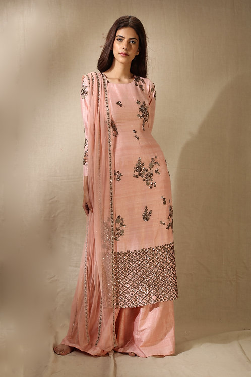Blush Pink and Antique Gold Floral Handwork Kurta with Flared Pants