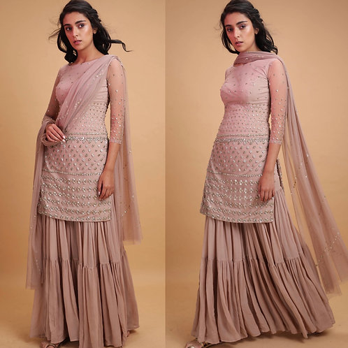 Pale pink Net Kurti with sharrara