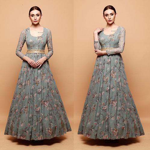 Blue Floral Print Anarkali Gown