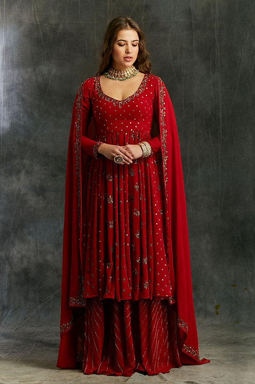 Red Georgette Anarkali with Sharara