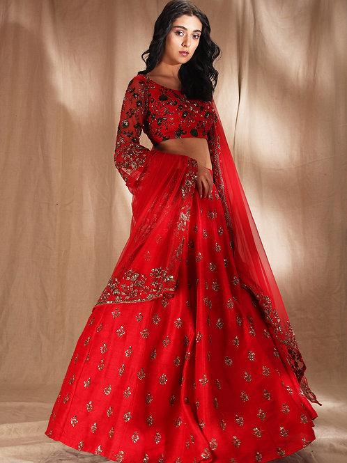 Red Raw Silk motif Lehenga