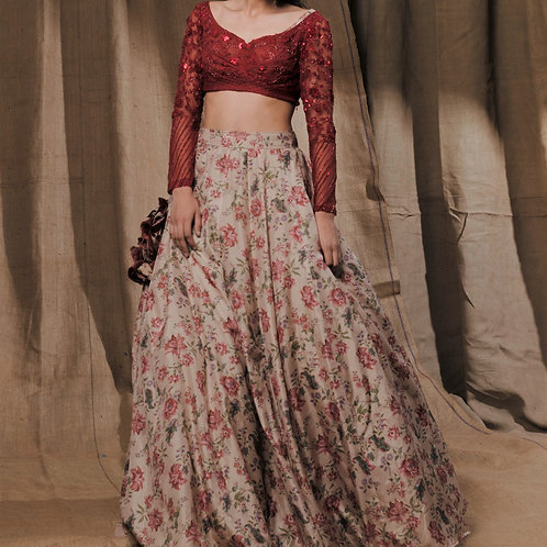 Beige Floral Printed With Deep Red Blouse Lehenga set